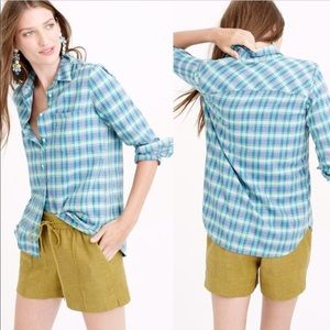 J Crew Boy Shirt Flannel in Green and Blue Plaid